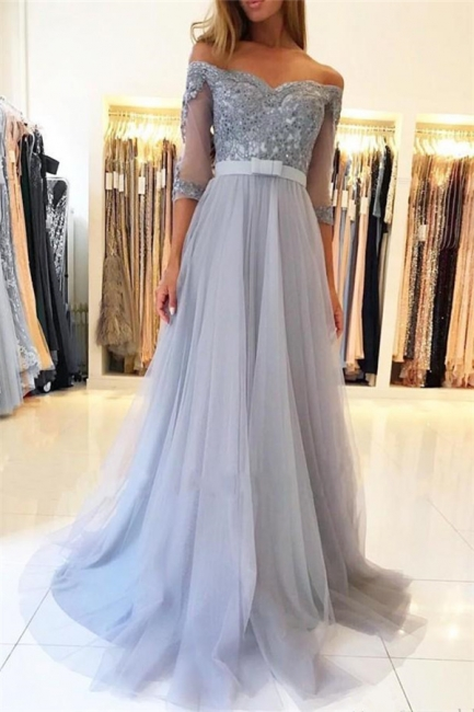 Modest Tulle Lace Off-the-Shoulder Sweetheart Prom Dress Half Sleeve Appliques Formal Dresses with Belt