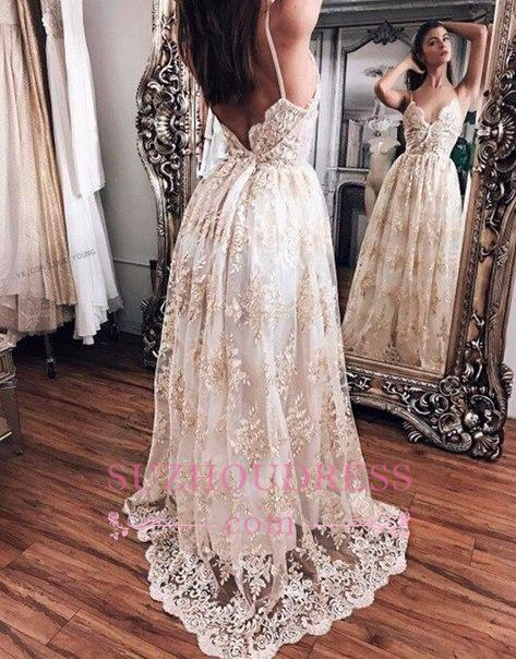 Backless Floor-Length open Back Straps prom Dress    Newest Lace Evening Dress