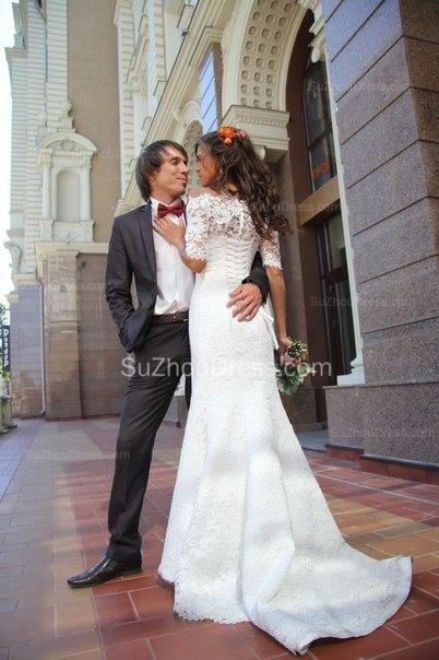 Mermaid Lace Off-the-shoulder Bridal Dress Half Sleeves  Wedding Dress