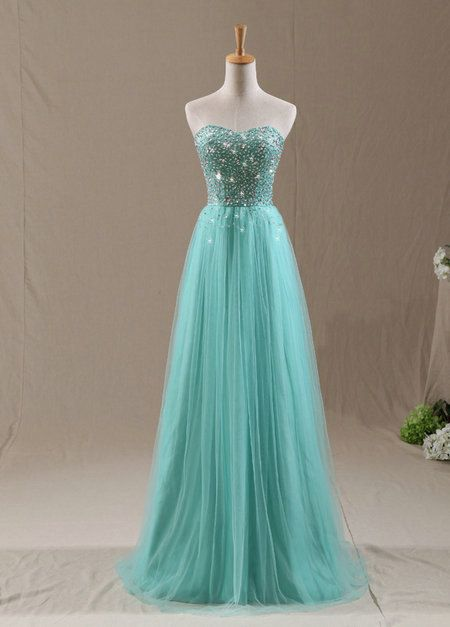 Sweetheart Crystal Mint Long Prom Dresses Lace-up Elegant  Evening Dresses with Sparkly Beadings