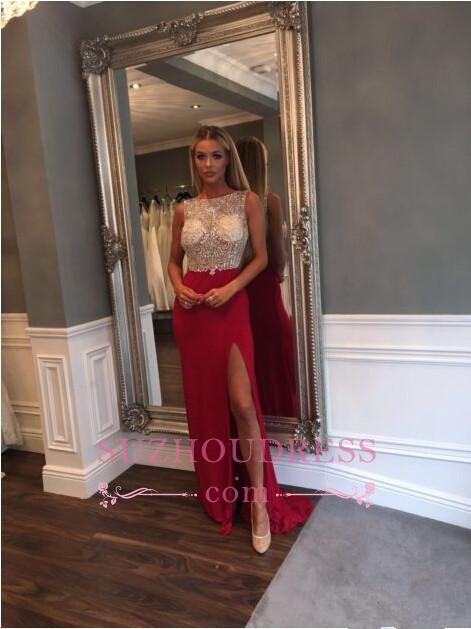 Front Split Jewel Sleeveless Gorgeous Sweep Train  Crystals Prom Dress