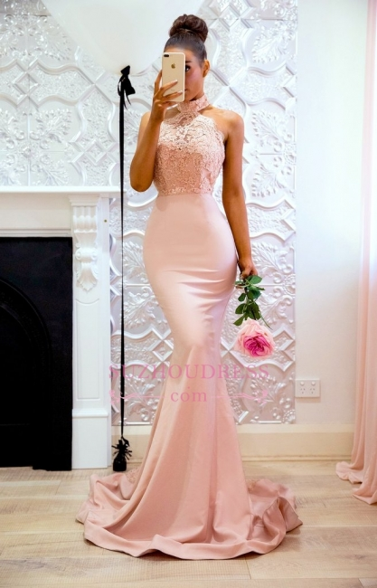 Elegant Mermaid Pink High Neck Prom Dresses  Open Back Lace Evening Gowns CD0038