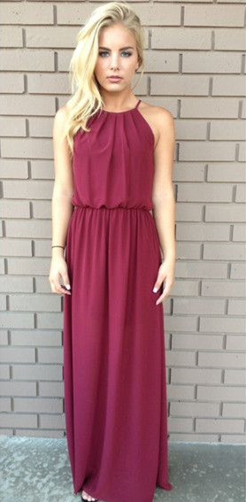 A-Line Halter Burgundy Chiffon Prom Dress New Arrival  Long Evening Gowns