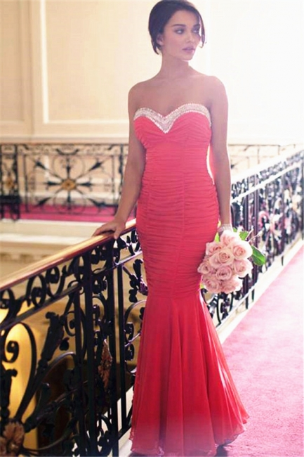 Red Sweetheart Ruffled Evening Dresses  Sexy Open Back Bridesmaid Dress
