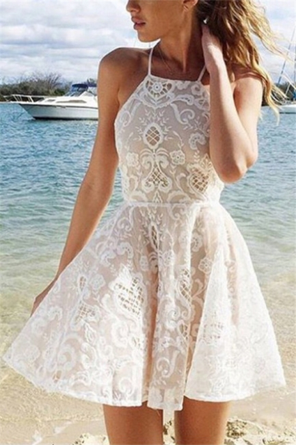 Elegant A-Line Lace Homecoming Dresses |  Halter Short Hoco Dress
