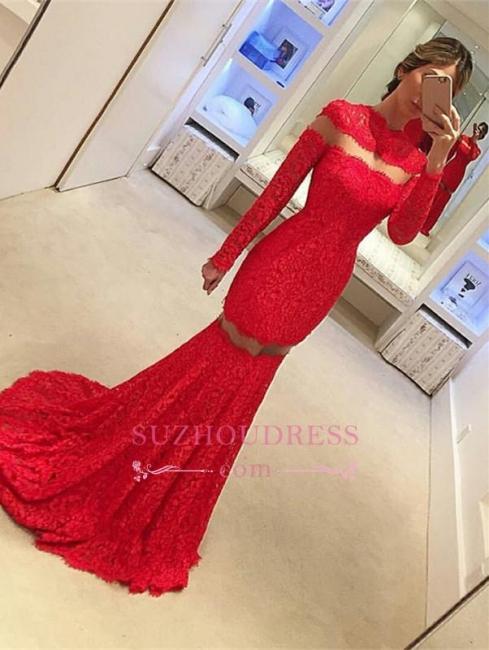 Mermaid Lace Long-Sleeve Sexy Red Sweep-Train Prom Dress BA4628