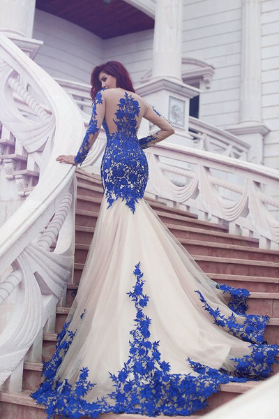 Long Sleeve Royal Blue Lace Evening Dresses Mermaid Tulle Prom Gowns  BA3610