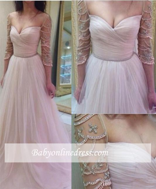 A-Line Sleeves Tulle Ruffles Delicate Sweetheart Beadings Prom Dresses