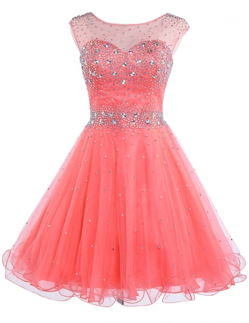 Latest Pink Beadings Mini Homecoming Dress Popular Custom Made Zipper Short Cocktail Dresses