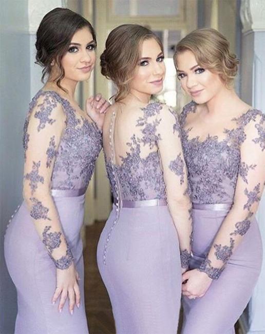 Popular Buttons  Appliques Mermaid Illusion Lavender Lace Long-Sleeve Bridesmaid Dress BA6632