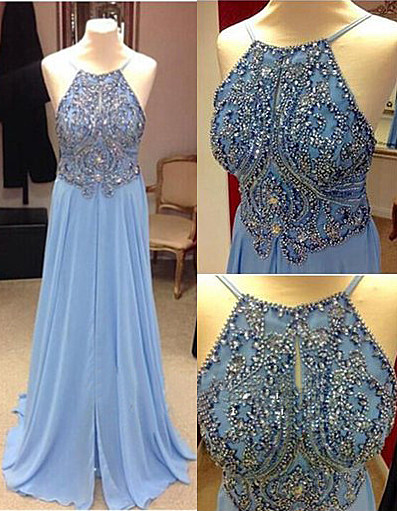 Baby Blue Prom Dresses  Straps Backless Lovely Evening Dress with Beads