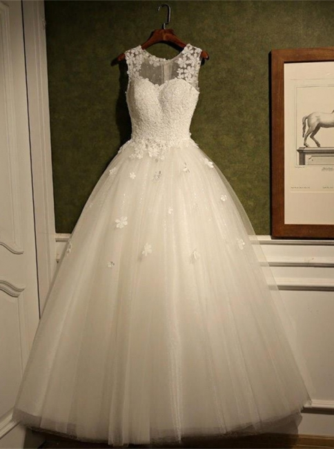 New Arrival Tulle Lace  A-Line Wedding Dress Natural Sleeveless Floor Length Bridal Dresses
