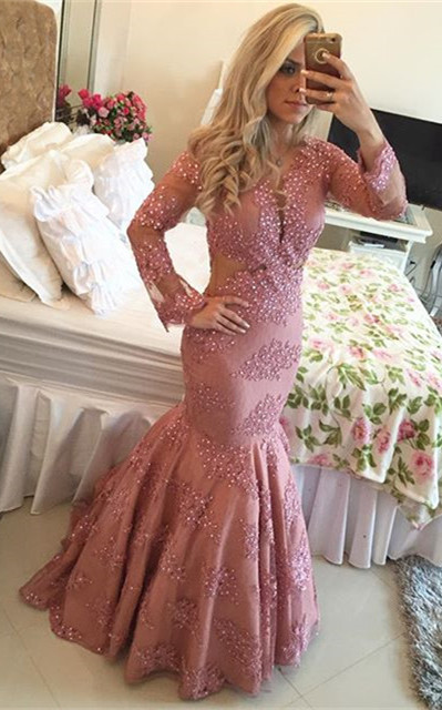Long Sleeve Sexy Mermaid Evening Dress with Beadings Floor Length Plus Size Formal Bridal Gown