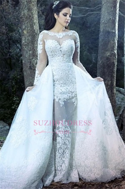 Amazing Sheath Long Sleeve Wedding Gowns  Lace Sheer Tulle Overskirt Wedding Dresses