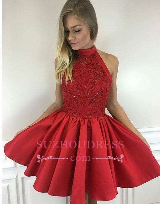 Red Cute Beading A-line Short High-neck Cocktail Dress