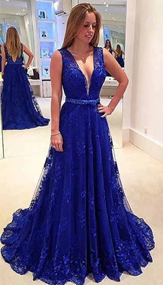 A-line V-neck  Royal Blue Lace Prom Gowns Sleeveless Popular Summer Evening Dresses CE0042