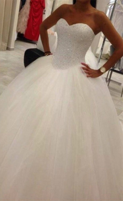 Lovely Sweetheart Tulle Wedding Ball Gowns Beads Princess Bridal Dresses with Petticoat