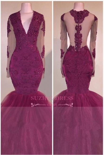 V-Neck  Long-Sleeves Tulle Mermaid Burgundy Beaded Appliques Prom Dress BA5211