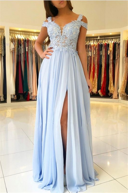 Lace Appliques Open Back Prom Dresses  | Chiffon Sexy Slit  Formal Evening Dress