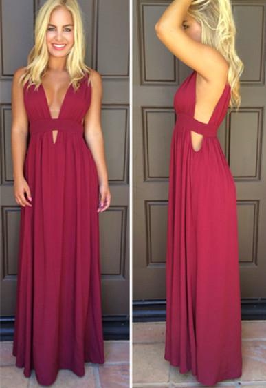 Sexy Deep V-Neck Red Long Evening Dress Simple  Summer Beach Dresses