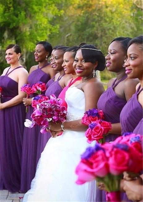 Simple Halter Purple Chiffon Long Bridesmaid Dresses Latest Simple Ruffles Wedding Dress Under 100