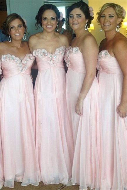 Sweetheart Pink Bridesmaid Dresses Beads Flowers Appliques Chiffon  Maid of Honor Dress