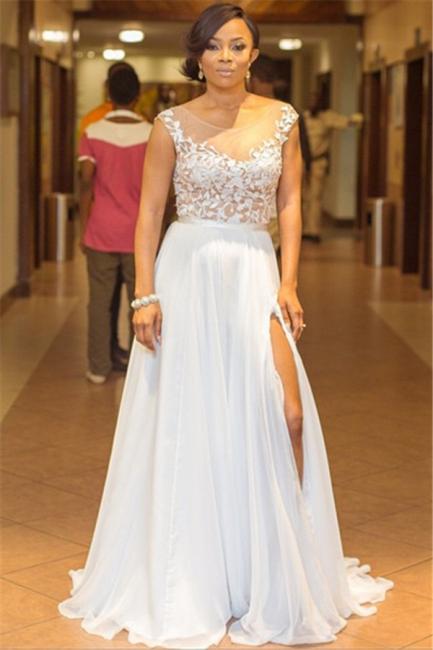 Elegant A-Line Chiffon Jewel Lace Ruffles Prom Dress Sleeveless Appliques Side Slit Formal Dresses On Sale