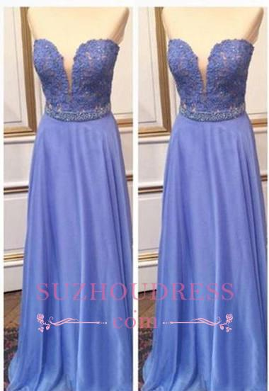 Lace Sweetheart Crystal A-Line  Floor-Length Prom Dresses