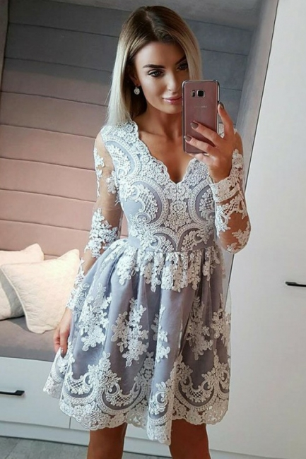 Long Sleeve See Through Lace  Homecoming Dresses   V-neck Sexy Mini Hoco Dresses