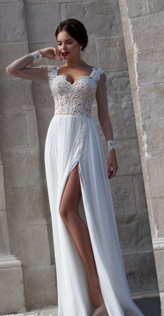 White Lace Sheer Long Sleeve Wedding Dresses Side Slit Chiffon Evening Dresses
