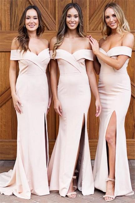 Pale Pink Sexy  Bridesmaid Dresses    Off The Shoulder Side Slit Formal Evening Dress