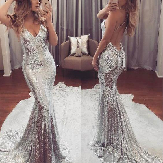 Silver Sequins V-neck Backless Evening Dress Sexy Straps  Summer Party Dress FB0025