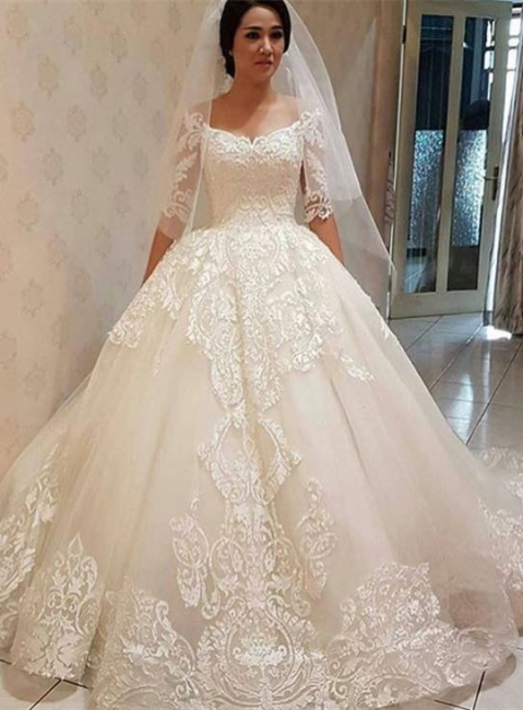 Elegant Off-the-shoulder Half Sleeve Puffy Lace Wedding Dress | Bridal Gowns Online