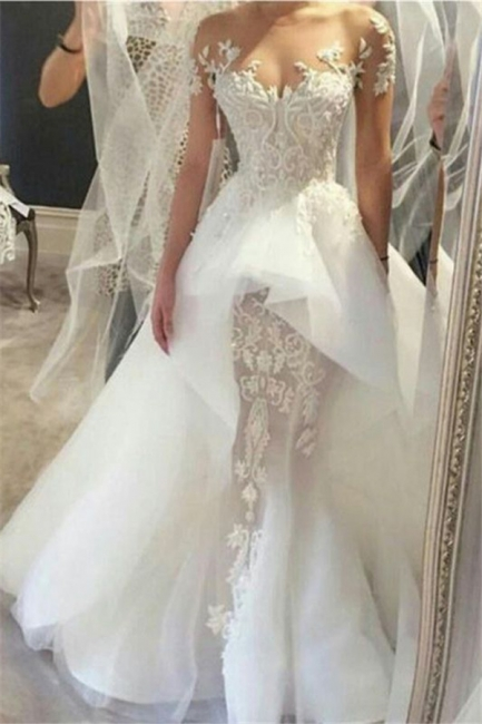 Affordable Short Sleeves Court Train Wedding Dresses Fit and Flare Tulle Lace Bridal Gowns Online