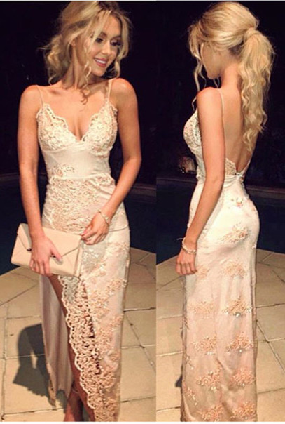 Sexy Spaghetti Strap Long Evening Gowns Backless Side Split Long Party Dresses BA3397
