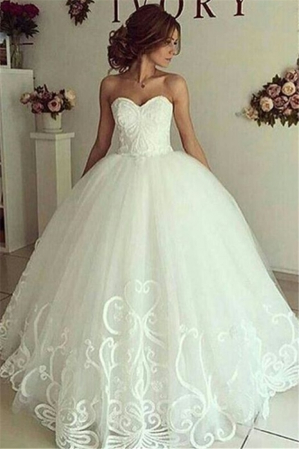 Elegant Sweetheart Bride Dress Ball Gown Lace Appliques Wedding Dresses