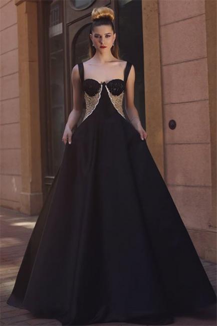 Glamorous A-Line Black Straps Evening Dresses  Straps Lace Prom Dresses