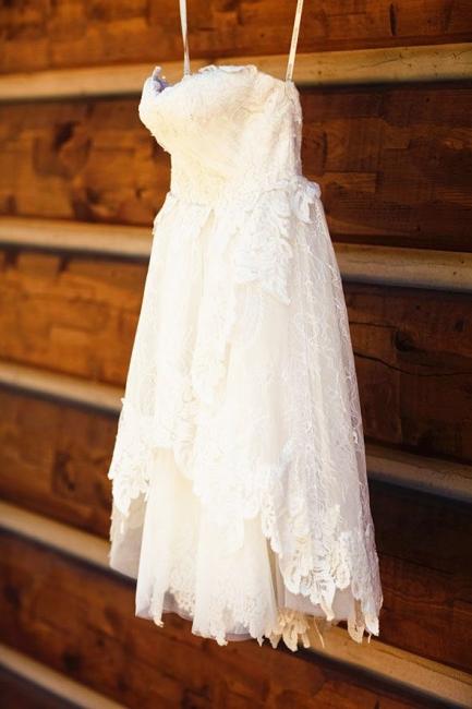 Ivory Lace Sweetheart Summer Beach Wedding Dresses Mini Cute Bridesmaid Dresses