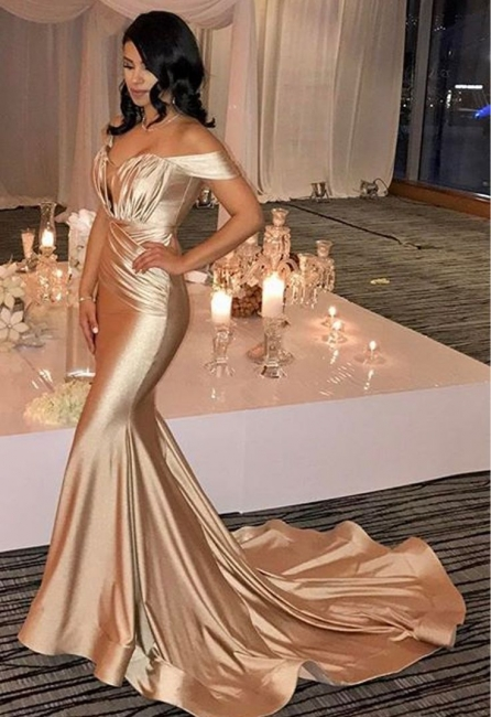 Off The Shoulder Champagne Gold Sexy Prom Dresses  Mermaid Lates Popular Evening Gown FB0183