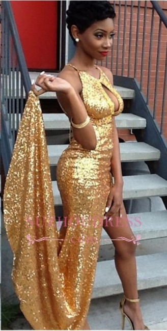 Halter Side-Slit Sequined Newest Sexy Gold Evening Gown