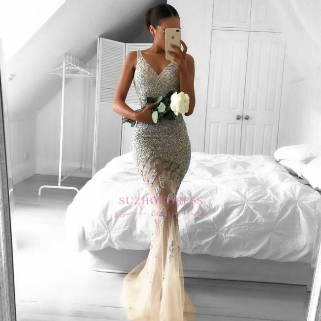 Straps Gorgeous Sheer Sleeveless Beads Tulle Mermaid Evening Dress