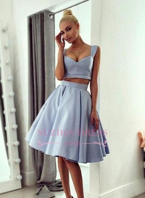 Straps Light Blue   Homecoming Dress Knee Length Chic Prom Dress