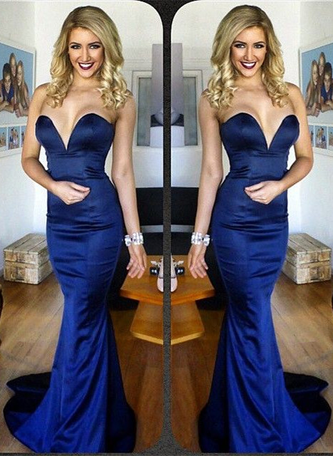 Sweetheart Mermaid Sexy Party Dress New Arrival Blue Long Evening Gowns BA4186
