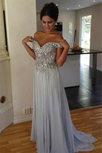 Off The Shoulder Silver Beaded Sequins Evening Dress Chiffon A-line  Prom Dresses