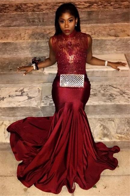 Mermaid Burgundy Prom Dresses   High Neck Sexy Sleeveless Evening Gown