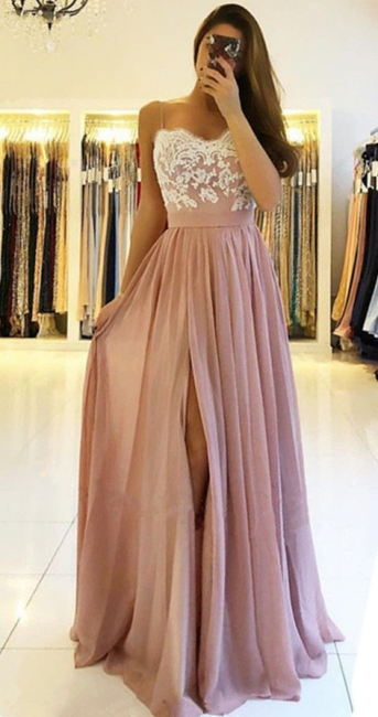 Spaghetti Straps Pink Prom Dresses  | Open Back Lace Chiffon Slit Formal Evening Gown BA9633