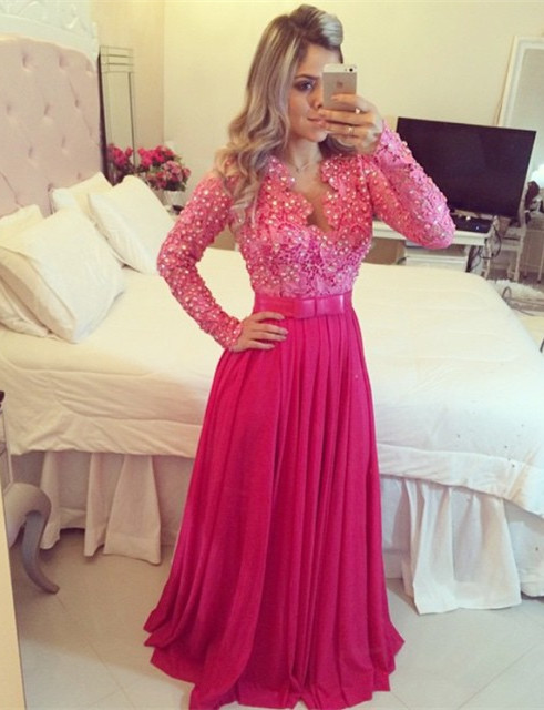 Fushia Long Sleeve Chiffon Prom Dress with Beadings Latest Bowknot Lace Formal Occasion Dress BMT032