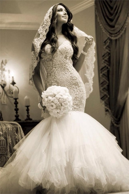 Luxurious Mermaid  Wedding Dress Lace Sweetheart Sexy Bridal Gowns with Soft Tulle