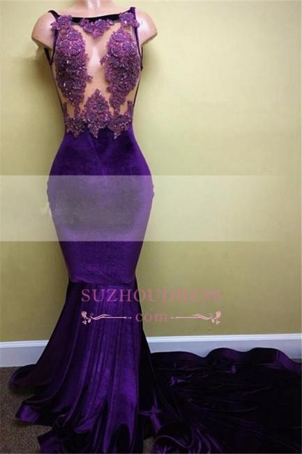 Elegant  Velvet Sleeveless Appliques Mermaid Prom Dress BA5393