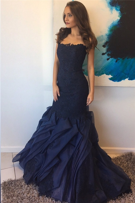 Dark Navy Sheath Lace Prom Dress   Tiered Ruffles Popular Evening Gown
